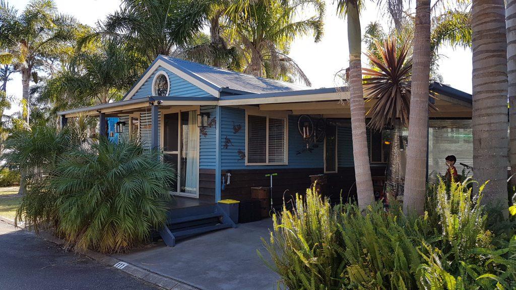 Wairo Beach Caravan Park cabin for garden and palm trees