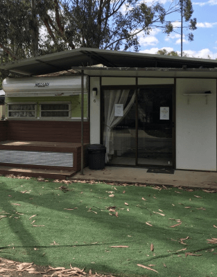 Site HL6 - Horseshoe Lagoon caravan and annex with fake grass